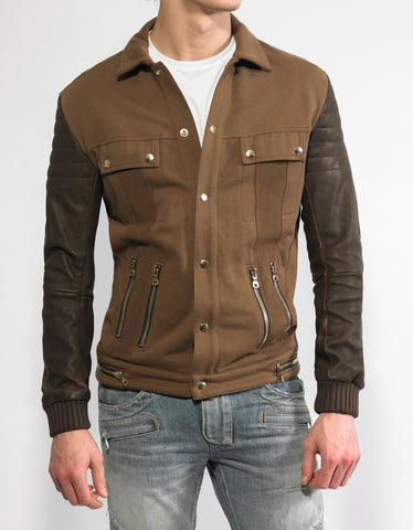Balmain Brown Cotton Jacket with Leather Sleeves