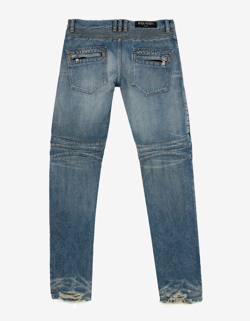 Stonewash Blue Distressed Slim Biker Jeans