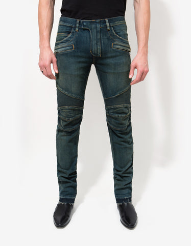 Balmain Washed Blue Released Hem Biker Jeans