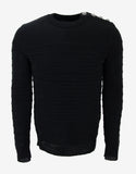 Black Ribbed Linen Sweater
