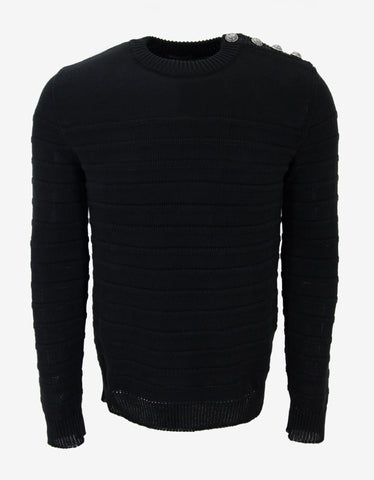 Balmain Black Ribbed Linen Sweater