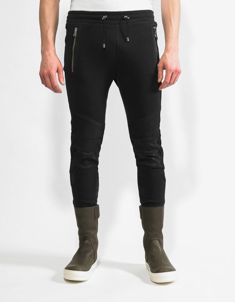 Black Leather Trim Biker Sweat Pants