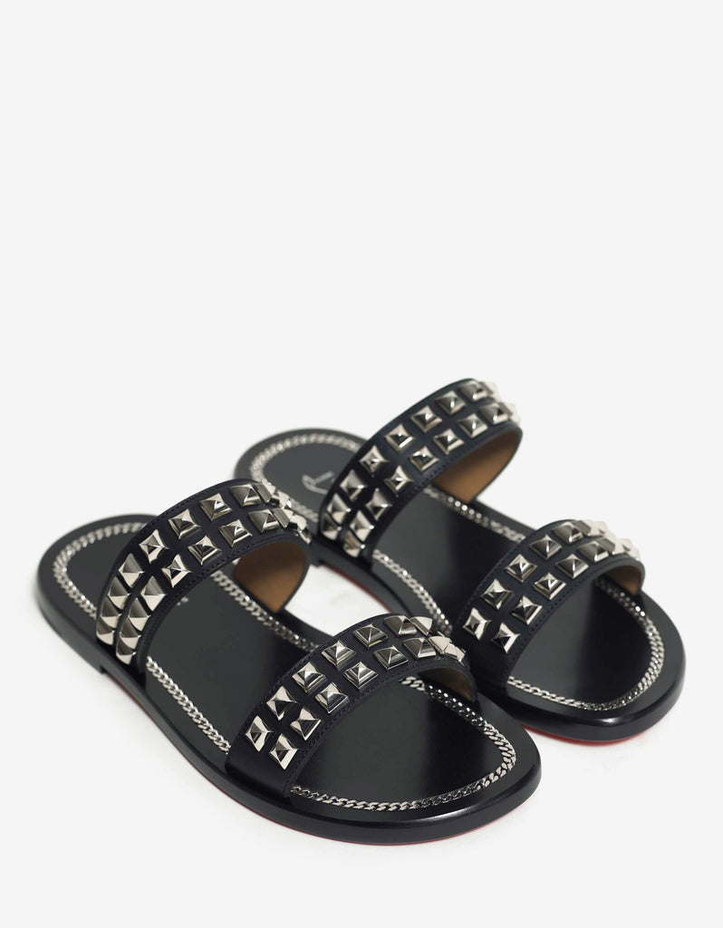 Cadena Beach Flat Black Slide Sandals