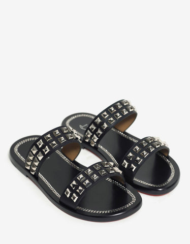 Christian Louboutin Cadena Beach Flat Black Slide Sandals