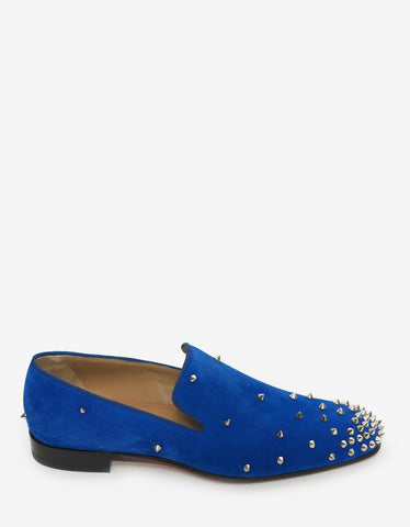 Christian Louboutin Degra Flat Electric Blue Suede Spikes Loafers