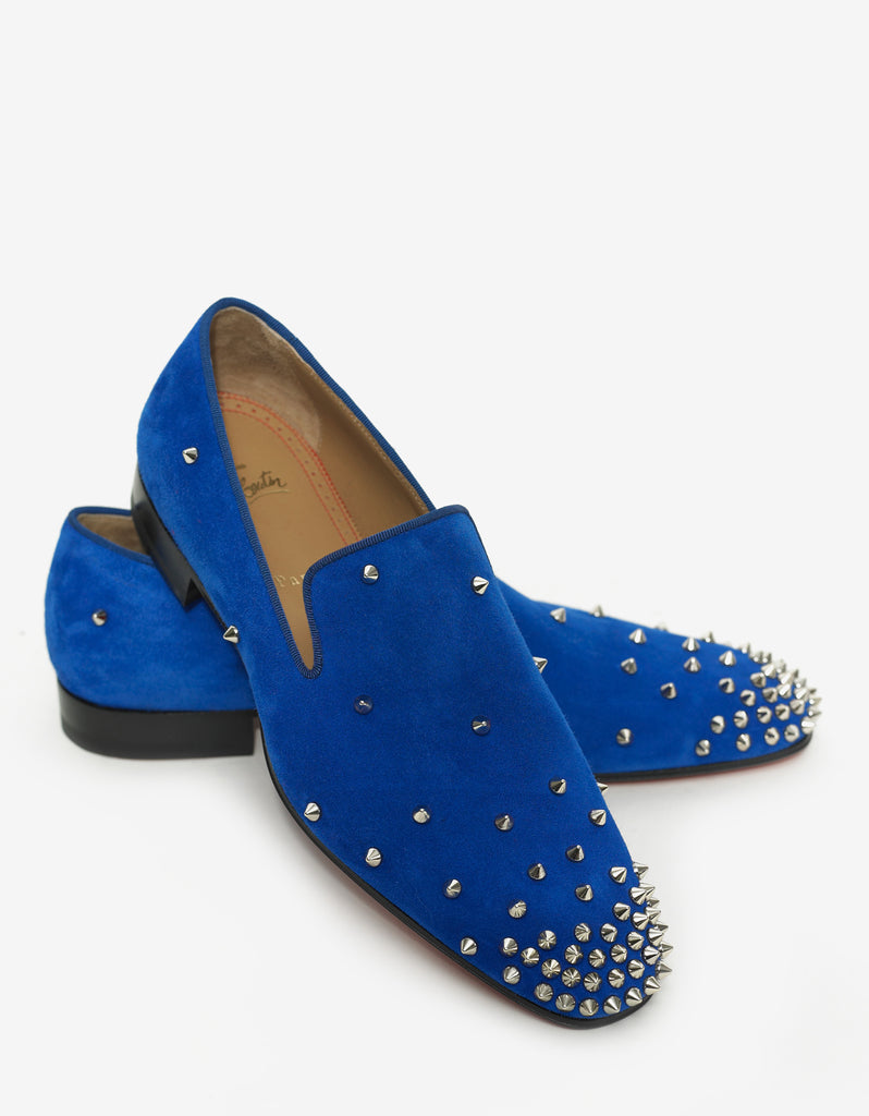 Degra Flat Electric Blue Suede Spikes Loafers