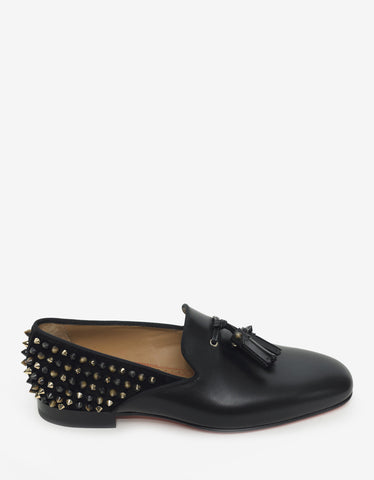 Christian Louboutin Tassilo Flat Calf & Suede Spikes Loafers