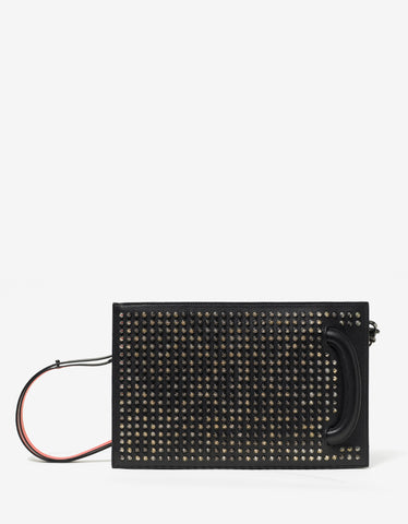 Christian Louboutin Trictrac Black Leather Spikes Portfolio