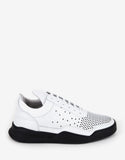 Gradient Perforated White Low Top Trainers