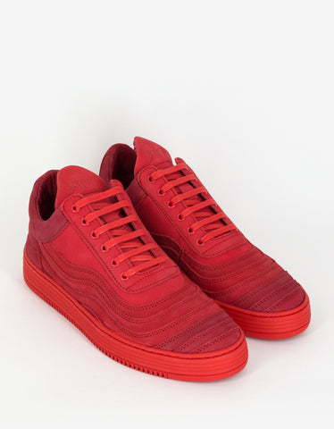 Filling Pieces Wavy Red Low Top Trainers