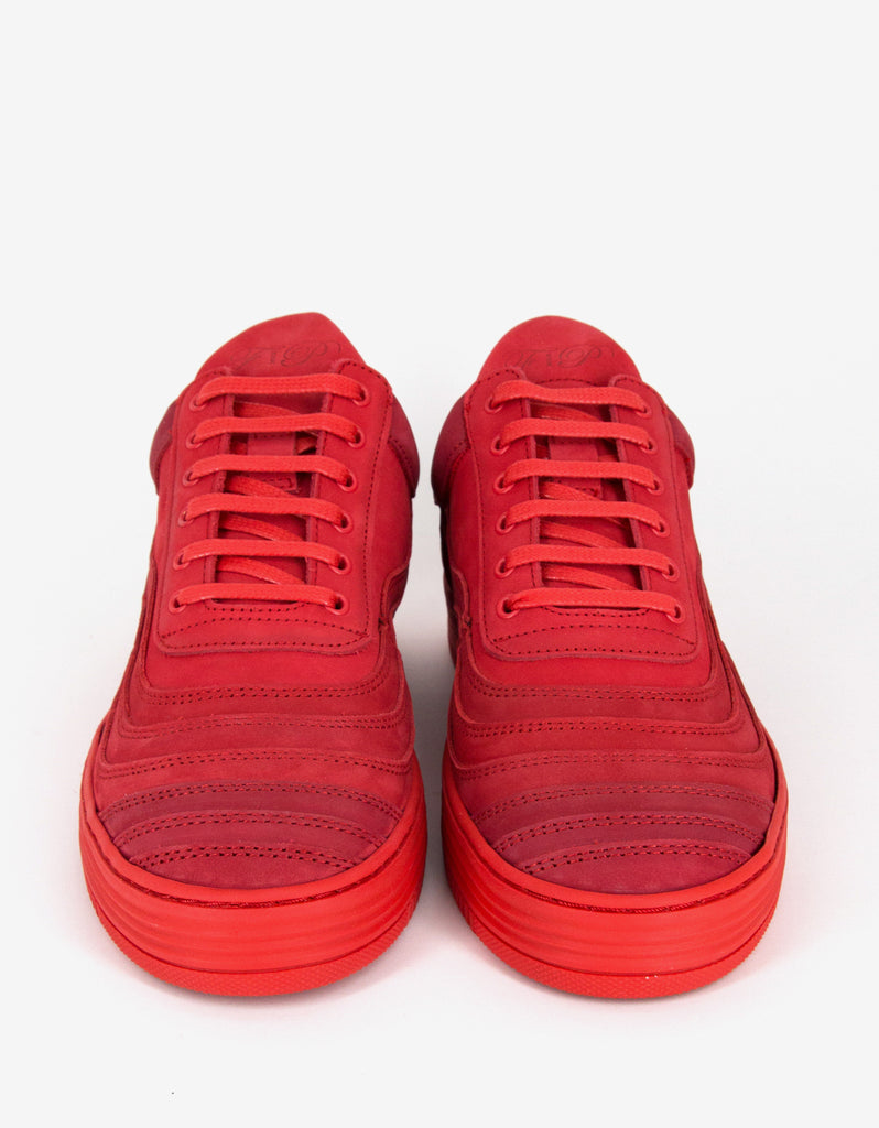 Wavy Red Low Top Trainers