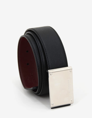 Givenchy Black & Maroon Reversible Leather Belt