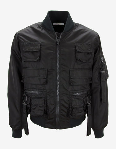 Givenchy Black Bomber Jacket with Multiple Pockets