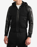 Black Leather & Neoprene Bomber Jacket