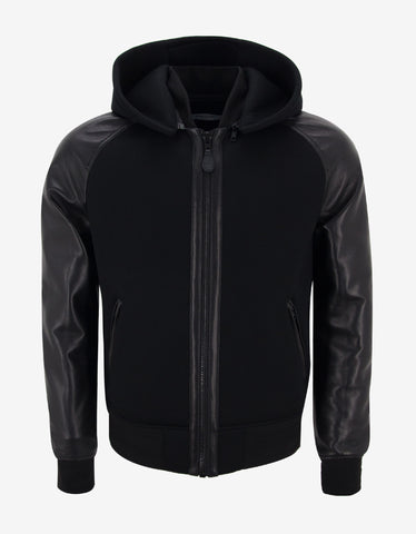 Givenchy Black Leather & Neoprene Bomber Jacket