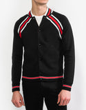 Black Contrast Stripe Teddy Jacket