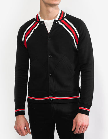 Givenchy Black Contrast Stripe Teddy Jacket