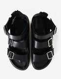 Black Leather Belted Sandals