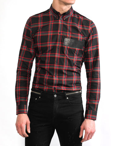 Givenchy Check Shirt with Leather Stars Band
