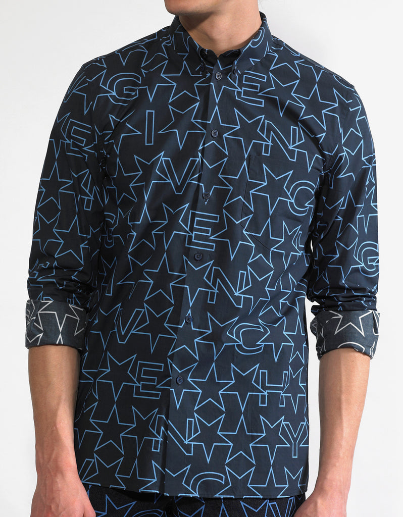Navy Blue Star Print Cuban Fit Shirt