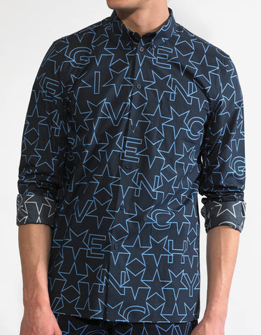 Givenchy Navy Blue Star Print Cuban Fit Shirt