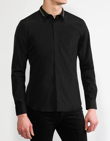 Givenchy Black Slim Fit Shirt with Zip Detail