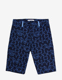Navy Blue Star Print Denim Bermuda Shorts