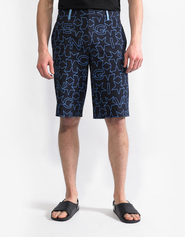 Givenchy Navy Blue Star Print Denim Bermuda Shorts