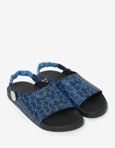Givenchy Navy Blue Star Print Slide Strap Sandals