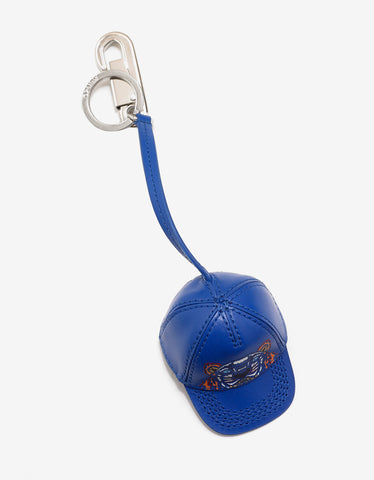 Kenzo Blue Tiger Cap Leather Keychain