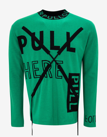 Kenzo Green 'Pull' Drawstring Sweater