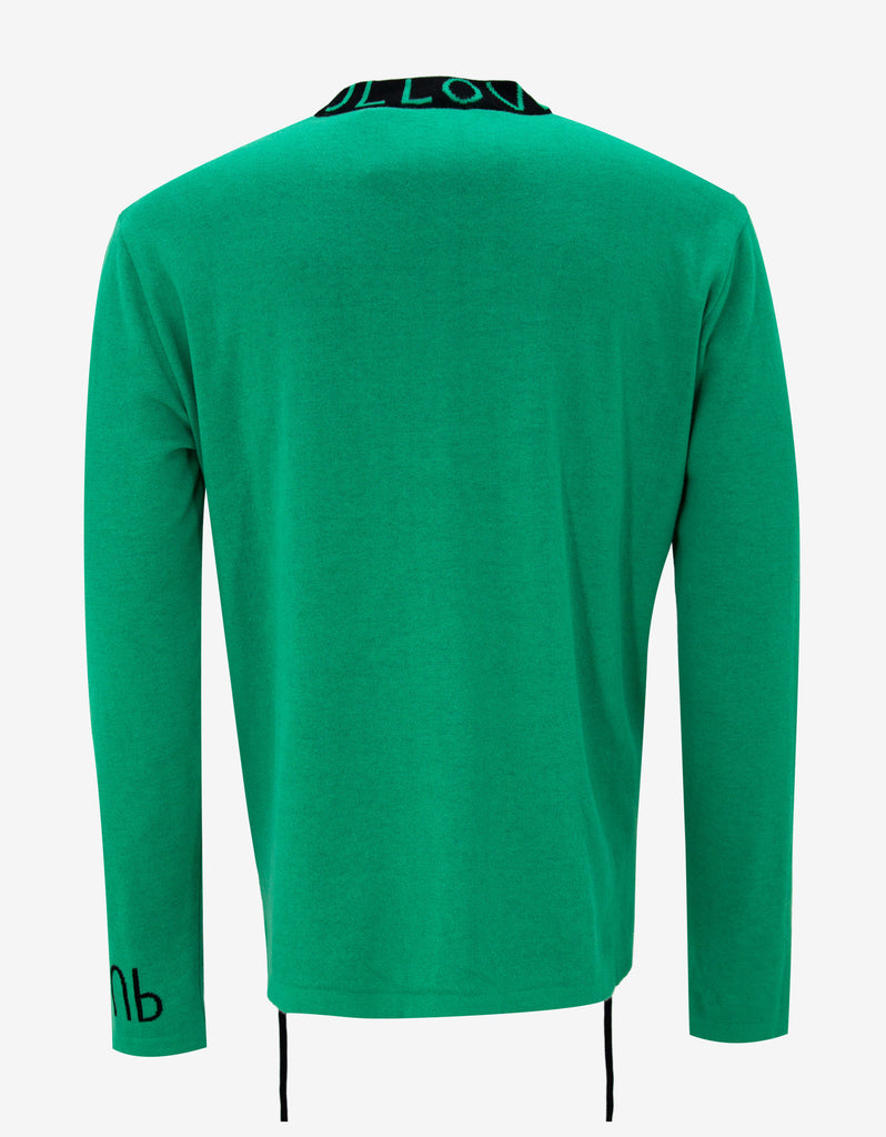 Green 'Pull' Drawstring Sweater