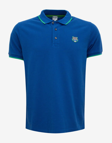 Kenzo Blue K Fit Tiger Badge Polo T-Shirt