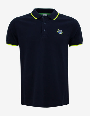 Kenzo Navy Blue K Fit Tiger Badge Polo T-Shirt