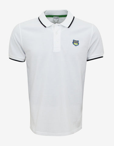 Kenzo White K Fit Tiger Badge Polo T-Shirt