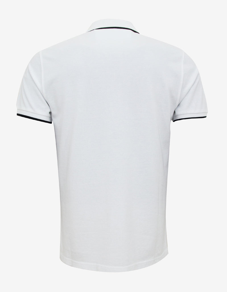 White K Fit Tiger Badge Polo T-Shirt
