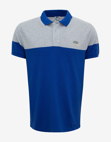 Kenzo Blue & Grey Tiger Badge Polo T-Shirt