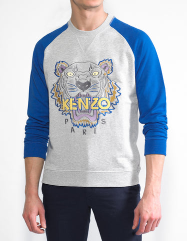 Kenzo Grey & Blue Tiger Head Sweatshirt