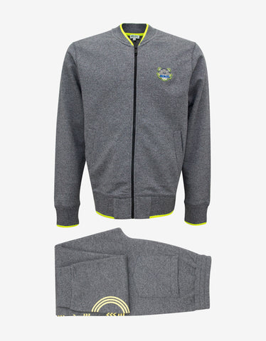 Kenzo Grey Tiger Badge Zip Through Tracksuit