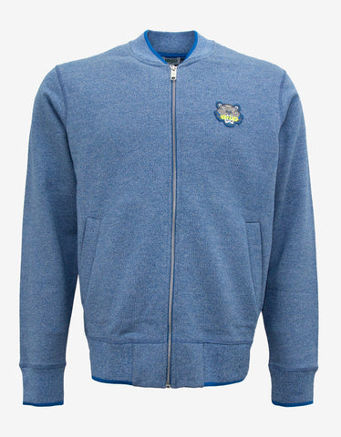 Kenzo Blue Tiger Badge Zip Through Sweatshirt