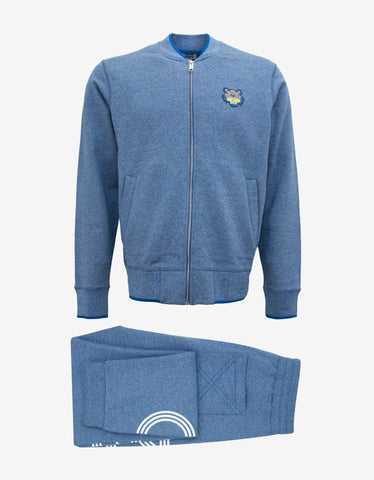 Kenzo Blue Tiger Badge Zip Through Tracksuit