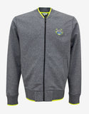 Grey Tiger Badge Zip Through Sweatshirt