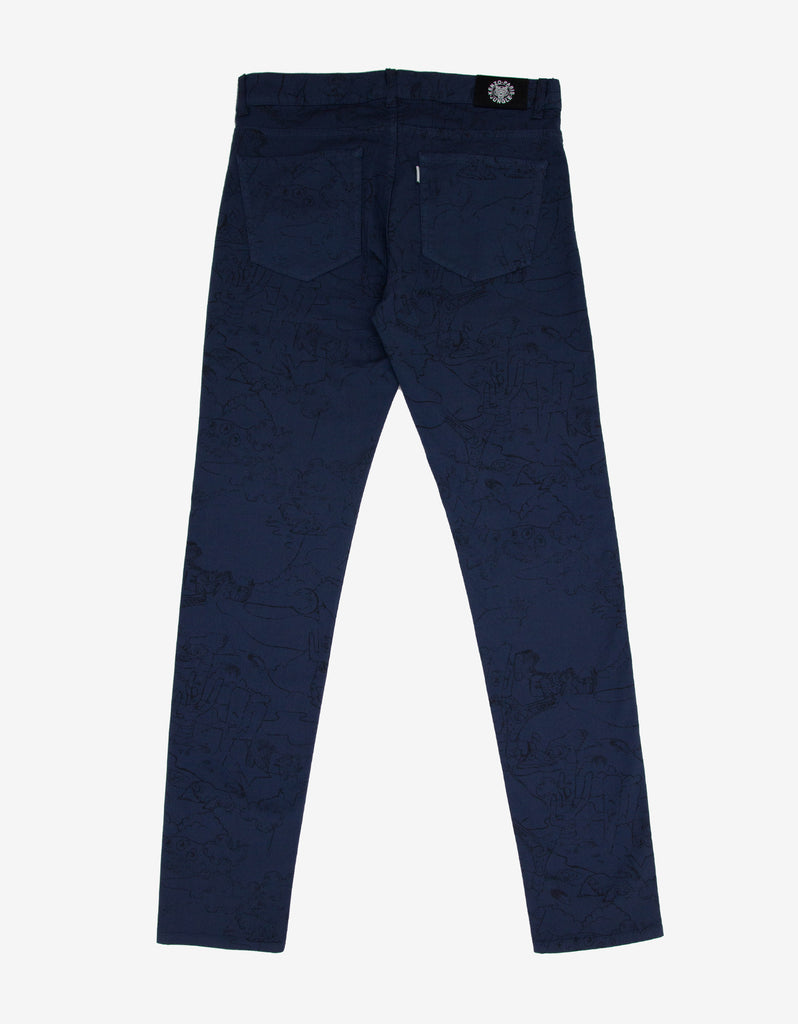 Navy Blue Cartoon Print Skinny Jeans