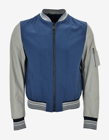 Lanvin Blue Varsity Jacket with Leather Sleeves