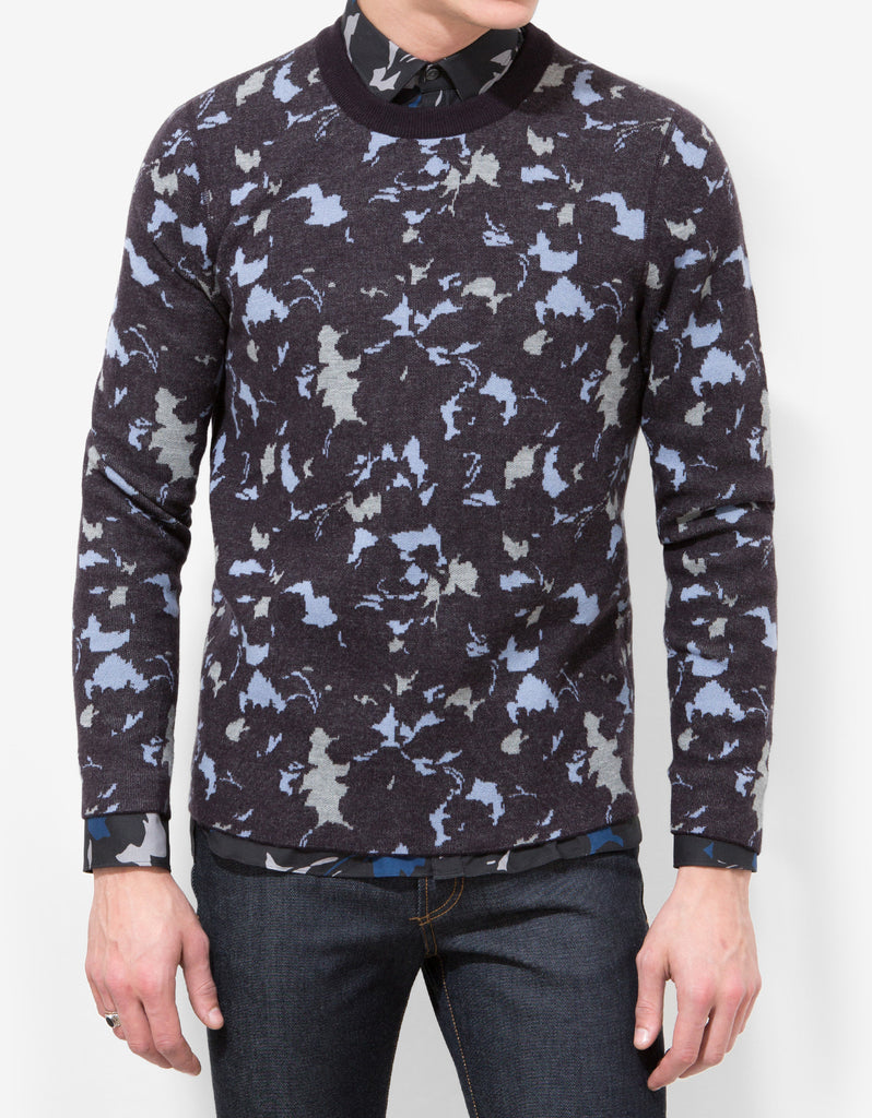 Abstract Floral Wool Sweater