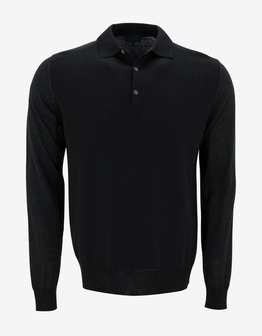 Lanvin Black Tri-Fabric Long Sleeve Polo T-Shirt