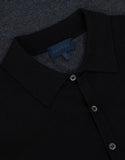Black Tri-Fabric Long Sleeve Polo T-Shirt