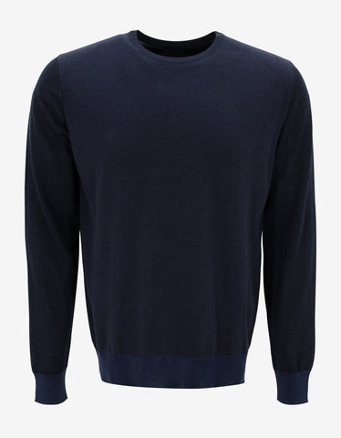 Lanvin Navy Blue Tri-Fabric Sweater