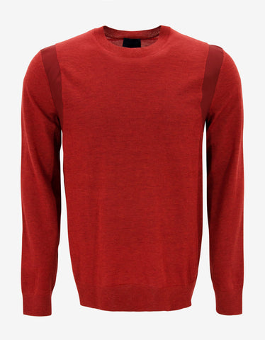 Lanvin Red Wool Sweater with Twill Trim