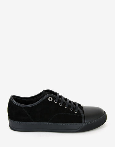 Lanvin Black Suede Trainers with Leather Toe Cap